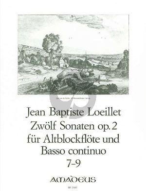 Loeillet 12 Sonaten Op.2 Vol.3 No.7-9 Altblockflote un Basso Continuo [Klavier]