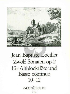 Loeillet 12 Sonaten Op.2 Vol.4 No.10-12 Altblockflote un Basso Continuo [Klavier]