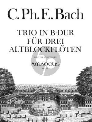 Bach Trio B-dur Wq 85 3 Altblockflöten (Part./Stimmen) (Isa Rühling)