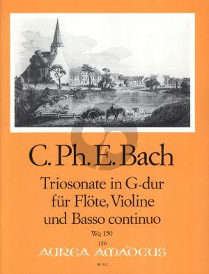 Bach Triosonate G-dur Wq 150 Flöte[Oboe/Violine]-Violine-Bc. (Part./Stimmen) (Manfredo Zimmermann) (Erstdruck)