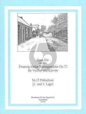 Sitt 20 Kleine Vortragsstucke Op.73 No.15: Praeludium Violine - Klavier