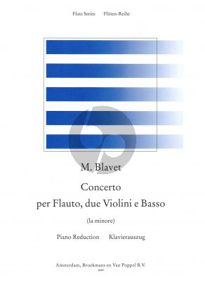 Blavet Concerto a-minor (Flute-2 Vi.-Bc) (piano red.) (edited by Rien de Reede)