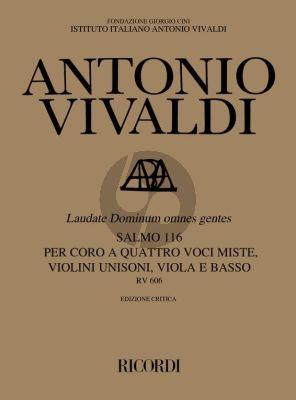 Vivaldi Laudate dominum omnes gentes RV 606 Score (SATB-2 Vl unisoni-Va. and Bc Score) (edited by Michael Talbot)