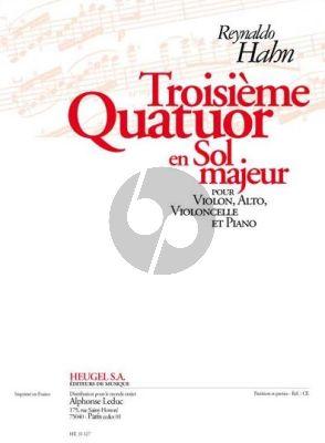 Hahn Quatuor No.3 G-major Violin-Viola-Violoncello and Piano (Partition-Parties)