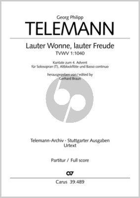 Telemann Lauter Wonne, lauter Freude TWV 1:1040 Soprano (Tenor) -Altblockflöte [Vi.] und Bc (Partitur) (Gerhard Braun)