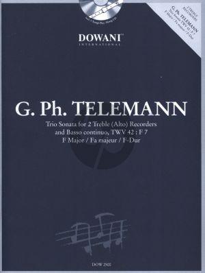 Telemann Triosonate TWV 42:F7 in F Major 2 Altblockflockfloten und Bc Book with Cd (Dowani 3 Tempi Play Along)