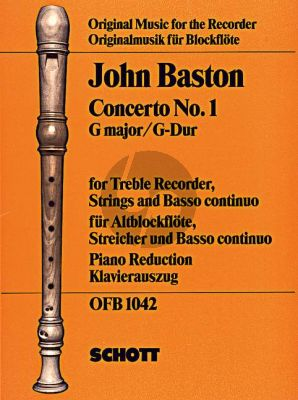 Baston Concerto No.1 G-major Treble Rec.-Strings-Bc) (piano red.)