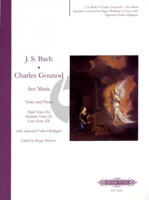 Bach Ave Maria High -G / Medium -F / Low -D Voice (lat.-fr-engl.) (with optional Violin Obligato)