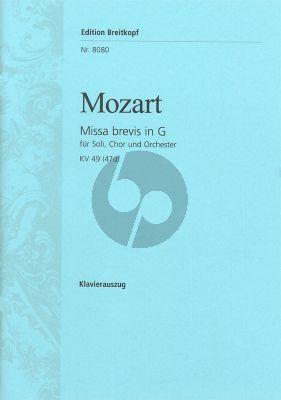 Missa Brevis G-Dur KV 49 (47d) Klavierauszug