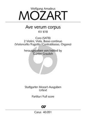Mozart Ave Verum Corpus KV 618 SATB-2 Vl.-Va.-Bc Partitur