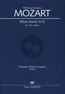 Missa Brevis in D (1774) KV 194 (186h) Soli SATB, Coro SATB, 2 Vl, Bc, [3 Trb ]Klavierauszug