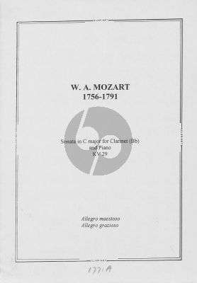 Mozart Sonate C-Major KV 29 for Clarinet in Bb and Piano