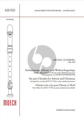 Altenburg 6 Advent & Weihnachts Gesange 6 Blockfloten (SSATTB) (Herausgegeben von Helmut Monkemeyer)