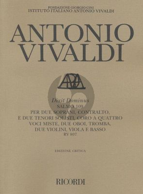 Vivaldi Dixit Dominus (Salmo 109) RV 807 SSATT soli-SATB-Orchestra Score (Michael Talbot)