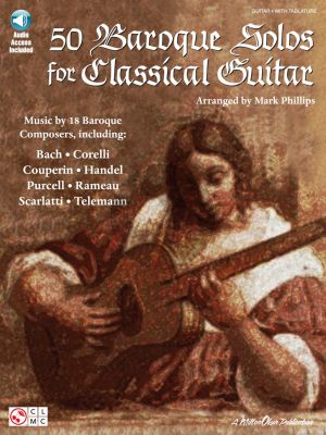 Album 50 Baroque Solos for Classical Guitar with TAB Book with Audio Online (Music by 18 Baroque Composers) (arranged by Mark Phillips)