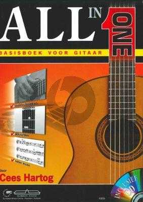 Hartog All In One Basisboek voor Gitaar (Bk-Cd) (Basistechnieken - Akkoorden - Noten lezen)