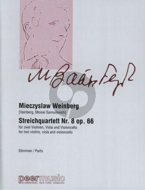 Weinberg String Quartet No.8 Op.66 2 Violins, Viola and Violoncello Set of Parts