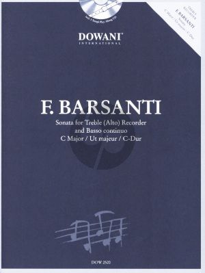 Barsanti Sonata C-major Treble Recorder and Bc (Bk-Cd) (Dowani 3 Tempi Play-Along) (edited by Manfredo Zimmermann)