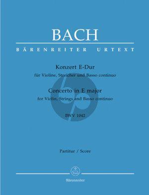 Bach Konzert E dur BWV 1042 Violine-Orchester Partitur (Dietrich Kilian) (Barenreiter-Urtext)