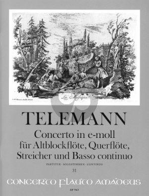 Telemann Concerto e-minor TWV 52:e1 (Treble Rec.-Flute- Strings-Bc) (Score with Solo Parts)