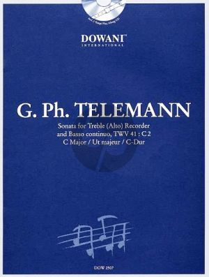 Telemann Sonate TWV 41: C2 in C Major Treble Recorder-Bc (Bk-Cd) (Dowani Play-Along)