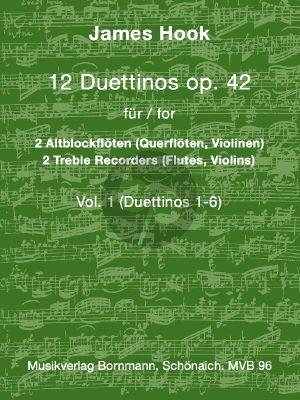 Hook 12 Duettinos Op.42 Vol.1 No.1 - 6 2 Altblockflöten (arr. Johannes Bornmann)
