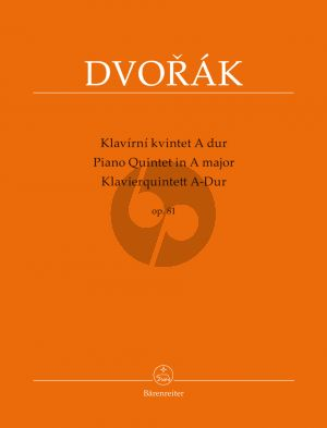 Dvorak Quintet A-major Op.81 Piano-2 Vi.-Va.-Vc. (Score/Parts) (Antonin Cubr)