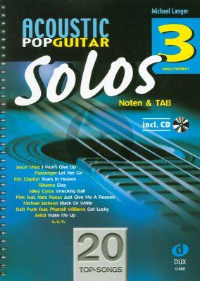 Album Acoustic Pop Guitar Solos Vol.3 Gitarre Noten und TAB Buch mit Cd (Arrangiert von Michael Langer)