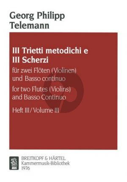 Trietti Metodichi e 3 Scherzi No.3 2 Flutes[2 Vi.]-Bc