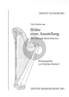Mussorgsky 4 Stücke aus Bilder einer Ausstellung Violoncello und Harfe [Klavier] (Nicolas Bardach)