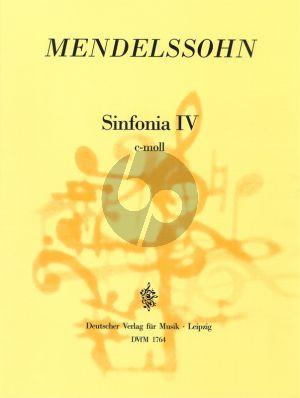 Mendelssohn Sinfonia No. 4 c-moll MWV N 4 Streichorchester (Partitur) (Hellmuth Christian Wolff)