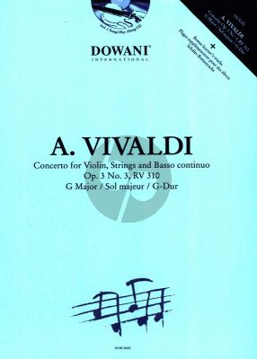 Vivaldi Concerto G-major Op.3 No.3 (RV 310) Violin and Piano (Bk-Cd) (Dowani 3 Tempi Play-Along)