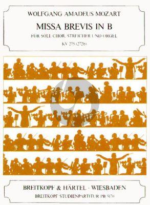 Mozart Missa Brevis B-dur KV 275 (272b) Soli-Choir-Orch.-Organ) (Study Score)