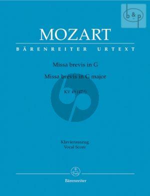 Missa Brevis G-dur KV 49 (47d) (Soli-Choir- Orch.) (Vocal Score)