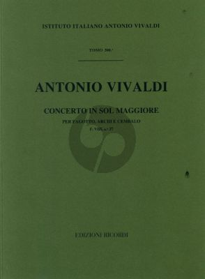Vivaldi Concerto G major F.VIII n.37 bassoon-strings-cembalo