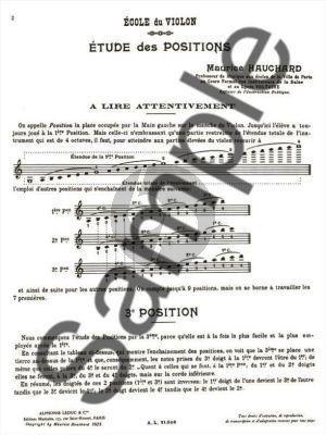Hauchard Etude Methodique des Positions Vol.1 Violon (3rd Positions)