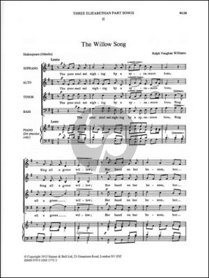 Willow Song SATB