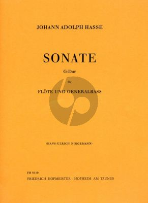 Hasse Sonata G-Major Flute and Piano (Bc) (edited by Hans-Ulrich Niggemann)