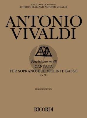 Vivaldi Perche Son Molli RV 681 Soprano-2 Violins- Basso (Score) (edited by Francesco Degrada)