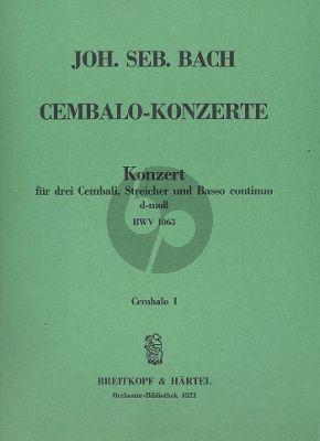Bach Konzert d-moll BWV 1063 3 Cembali-Streicher-Bc Cembalo 1