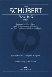 Schubert Messe G-dur D.167 STB soli-Choir-Orch. Vocal Score