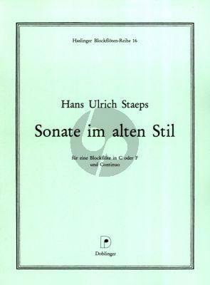 Staeps Sonate im alten Stil Sopran [Tenor] Blockflote oder Altblockflote und Bc