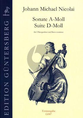 Nicolai Sonate A-moll / Suite D-moll 2 Bassgamben-Bc (Erstausgabe) (Günter and Leonore von Zadow)