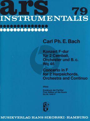 Bach Konzert F-dur WQ 46 2 Cembali-Orchester Partitur (Georges Kiss)