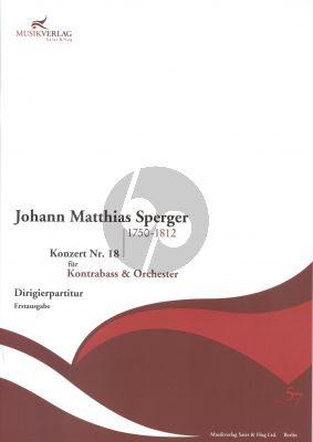 Sperger Concerto No.18 Double Bass-Orch. Full Score