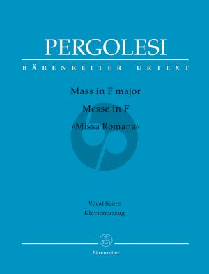 "Pergolesi Mass F-major ""Missa Romana"" Soli-Choir-Orch. Vocal Score"