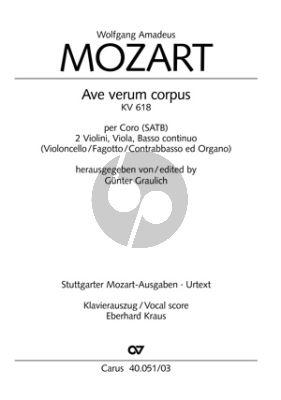 Mozart Ave Verum Corpus KV 618 SATB-2 V.-Va.-Bc Klavierauszug