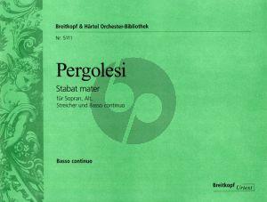 Pergolesi Stabat Mater (Sopr.-Alto soli-Female Choir-String Orch.) Organ/Basso Continuo) (edited by Helmut Hucke) (Breitkopf)