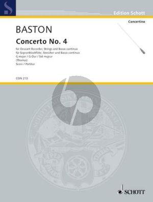 Baston Concerto No. 4 G-Dur Sopran-Blockflöte-Streicher-Bc Partitur
