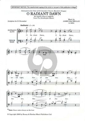 """MacMillan O Radiant Dawn SATB a cappella (from """"The Strathclyde Motets"""")"""